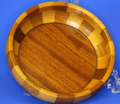 Vintage treen turned solid Wood Bowl Parquetry Fruit Bowl, 23cm *[21019]