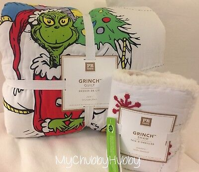 NWT Pottery Barn Teen ~THE GRINCH~ TWIN QUILT & Pillow SHAM ~CHRISTMAS~ *RARE*
