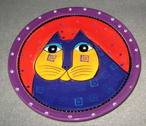 LAUREL BURCH FOR GANZ PURPLE CAT FACE 8.25 INCH PLATE