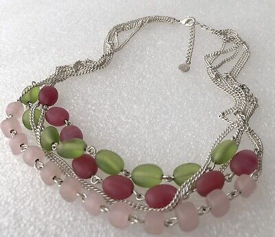 Xc Signed Green Pink Frosted Glass Bead Silver Tone Chain Multi Stand Necklace