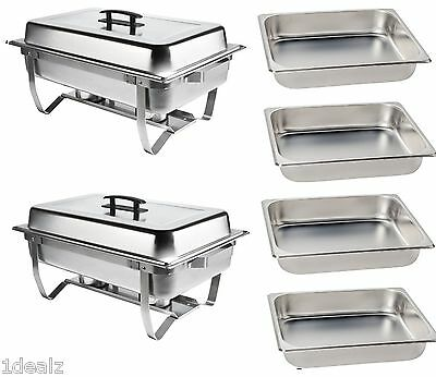 New Catering Chafer Set Bonus 4 Half Pans Chafing Stainless 2 Full And Half Pans