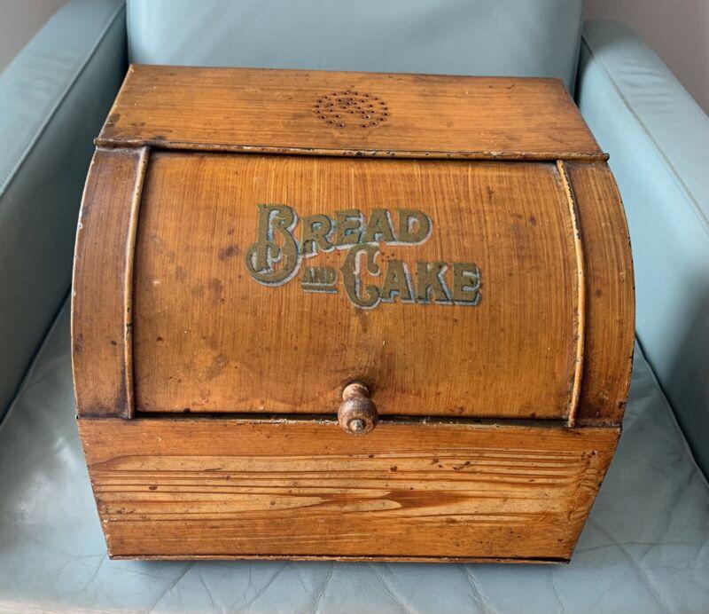 "Antique Circa 1920s Grain Painted Tin ""Bread and Cake"" Box"