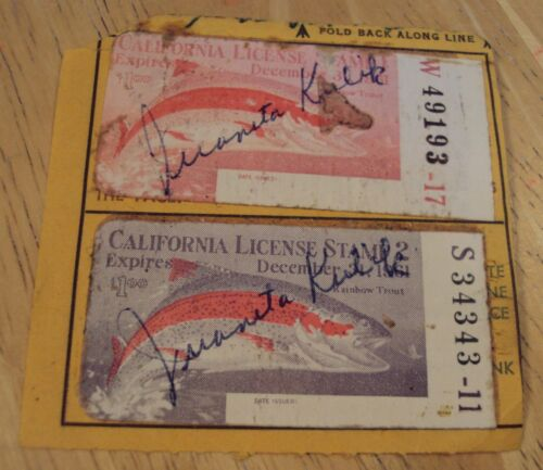 """1961 Lot of 2  """"CALIFORNIA LICENSE STAMP""""~Rainbow Trout~"""