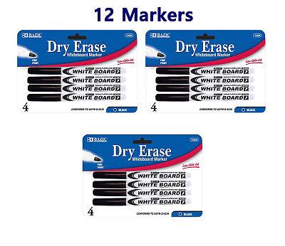 Fine Tip Dry Erase Whiteboard Black Marker 12 Pcs