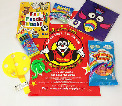 Party Bags Childrens Fun Filled Surprise Loot Bags for Boys & Girls 7 Items - Items For Party Bags