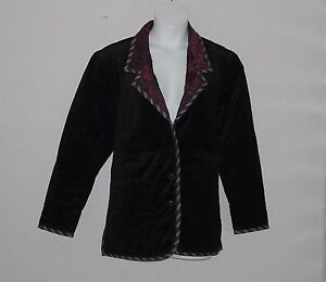 Koos of Course Reversible Velvet and Paisley Jacket Size S Black/Magenta