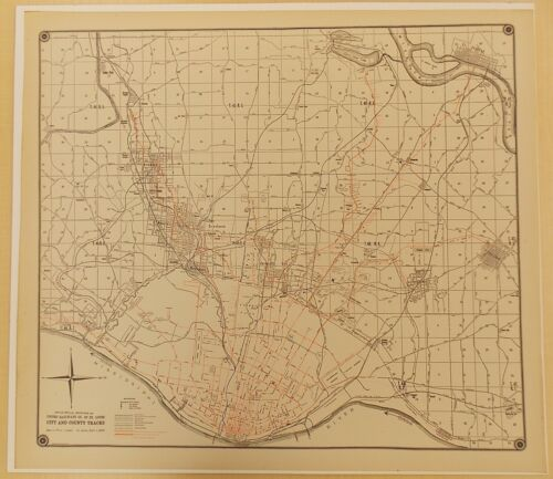 1920 United Railways St. Louis City and County streetcar wall map