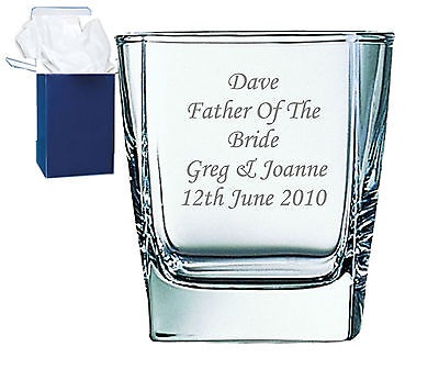 Personalised Engraved Whisky Glass Wedding Best Man, Usher Pageboy Gift Free Box