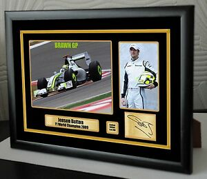 Jenson Button F1 2009 BRAWN GP Limited Edition Framed Canvas Signed