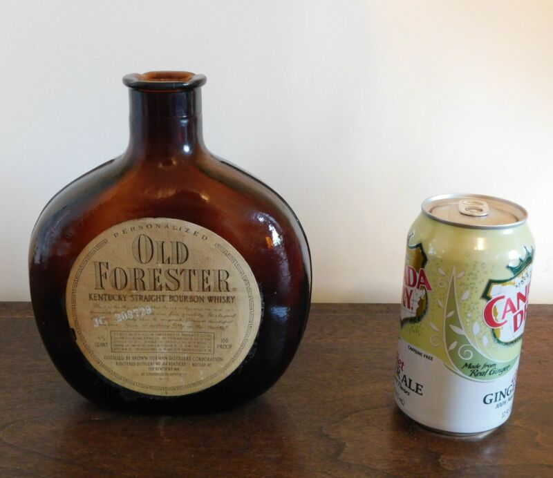 OLD FORESTER KENTUCKY STRAIGHT BOURBON WHISKY - Brown Amber Glass Bottle - Label