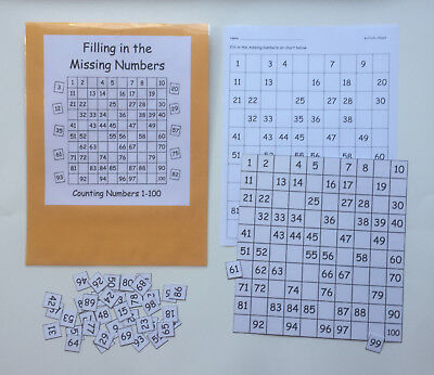 1 Game Center (Teacher Made Math Center Game Common Core Filling in the Missing Numbers 1-100 )