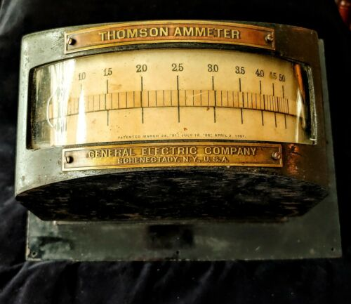 RARE Antique THOMSON AMMETER General Electric N.Y. METER #116313 Glass Front