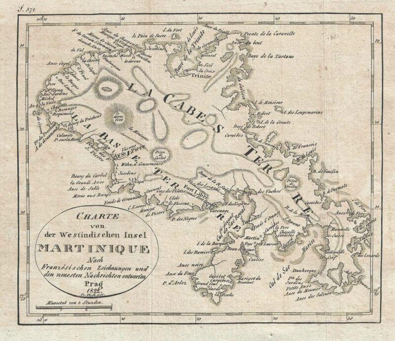 1822 Franz Pluth Map of Martinique