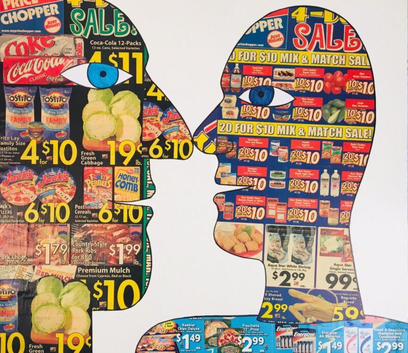 ALLAN WINKLER Pop Art Faces Collage Painting KC Artist Student Of Ken Ferguson