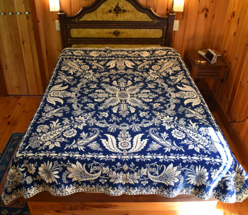 19th C. Antique American Textile: Reversible 2-Panel Coverlet - 76x88
