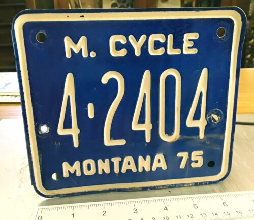 MONTANA - 1975 motorcycle license plate - nice USED example from Missoula