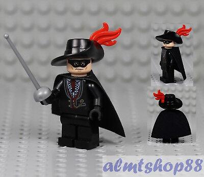 LEGO - Zorro Minifigure - Black Cape & Fedora Hat Musketeer Swashbuckler Castle (Musketeer Cape)