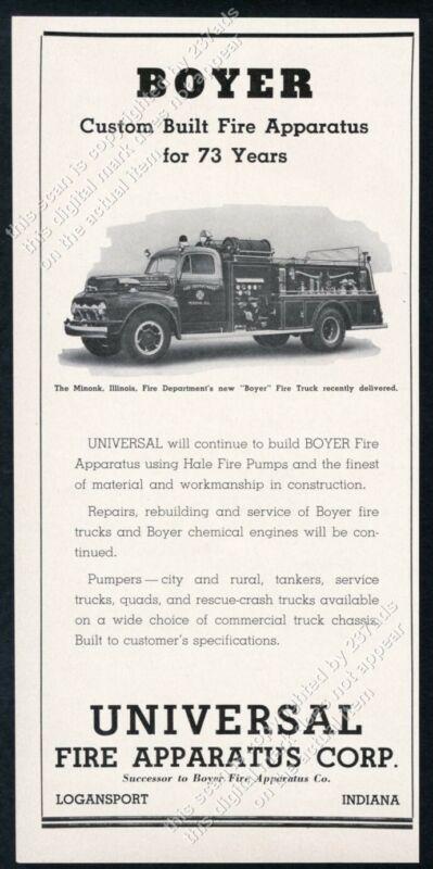 1952 Minonk Illinois fire department Boyer fire truck photo vintage trade ad