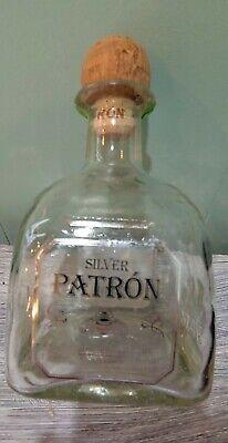 EMPTY PATRON SILVER TEQUILA BOTTLE 1.75L W/CORK HANDBLOWN GLASS BOTTLE AWESOME