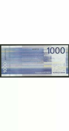 Norway 1000 Kroner Banknote. Norwegian New 2019 Series Note. UNC 1000 Kronor
