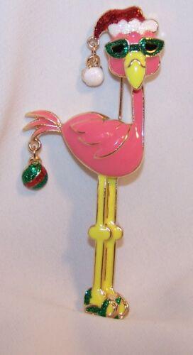 Flamingo Bird Christmas Pin Brooch-Glitter Enamel Dangles-New