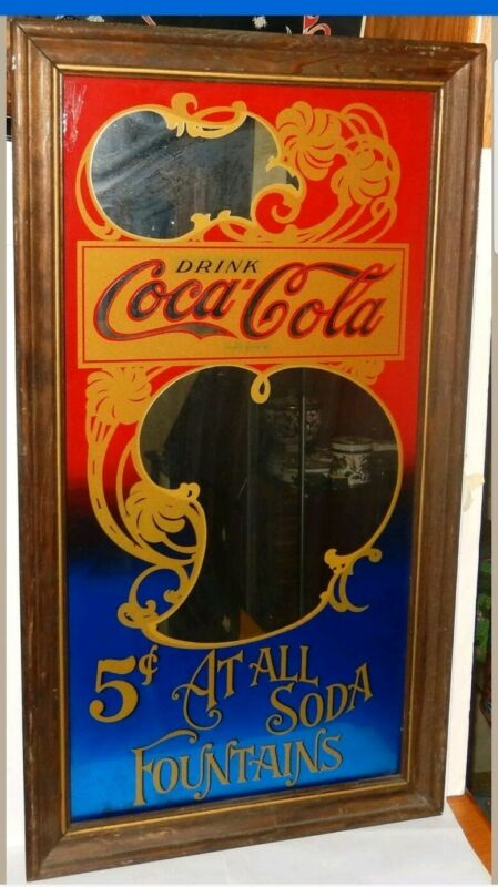Vintage large COCA COLA 5 CENT SODA FOUNTAINS BAR MIRROR FRAMED IN WOOD rare