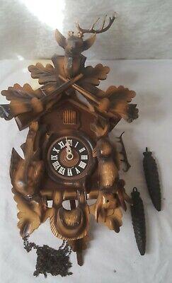 Vintage Black Forest German Cuckoo Clock Mechanical Flawed Antler Parts Repair