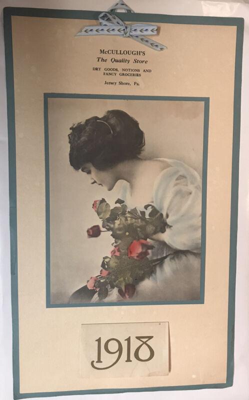 Rare Vintage McCullough's store calendar 1918 Jersey Shore, Pennsylvania Antique