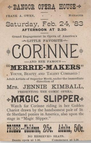 "Feb 24, 1983 Mrs. Jennie Kimball Bangor Opera House ME ""Magic Slipper"" Adv. Card"