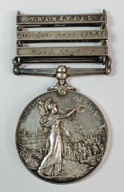 Boer War Queens South Africa 3 Bar Medal Pte Burton Irish Rifles