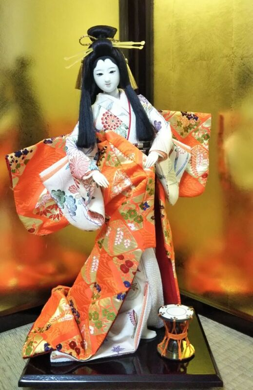 "Japanese Geisha doll with hats in Kimono 17"" on wooden base BEAUTIFUL vintage"
