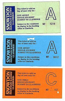 SNOWDON MOUNTAIN RAILWAY: 3 X SUMMIT-LLANBERIS STAND-BY TICKETS, 1990s.