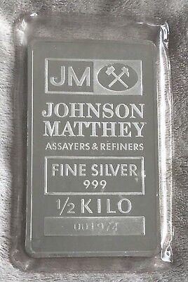 J M Johnson Matthey 1 2 Kilo Silver Bullion Bar   Sealed Vintage Ultra Rare Size