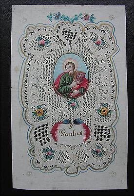 Rares altes Hl. Bild , St. Paulus handgeschnitten um 1790 Klosterarbeit