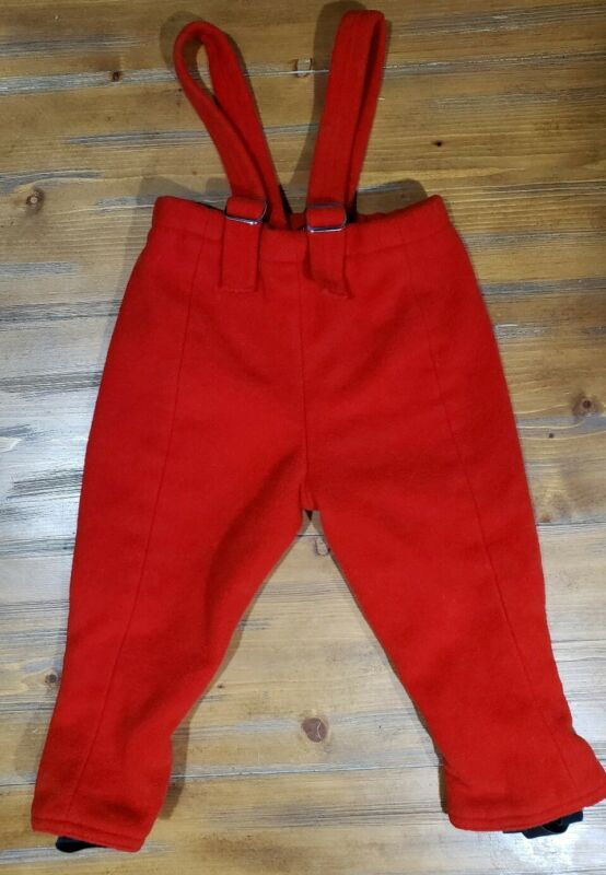 Vintage Red Wool Blend Leggings Boys Size 4 Suspenders USA Made