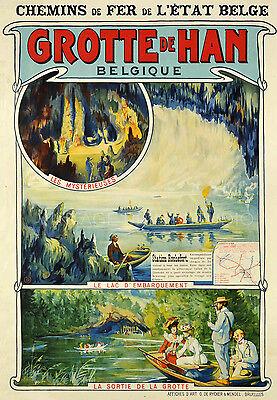 Grotte de Han 1900 Vintage Belgium Travel Poster Advertising Canvas Print 14X20