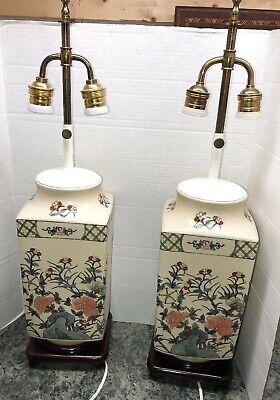 Vintage  Table Lamp Jar Ceramic Asian Floral Oriental set of 2 double socket