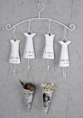 Hook bar shabby chic wardrobe coat rack white wall wardrobe with four hooks new