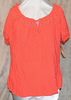 ONE WORLD SO PRETTY BEADED EMBROIDERED ADJ NECKLINE TUNIC BLOUSE 1X CORAL NEW