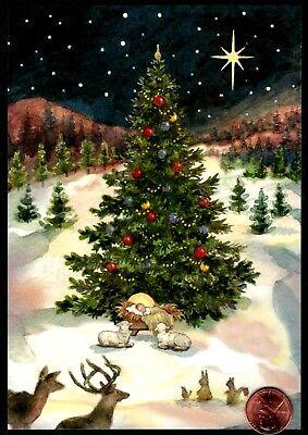 Christmas Baby Jesus Deer Bird Bunnies Lambs Tree Star Snow - Christmas Card NEW