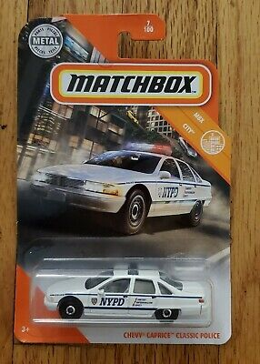 Matchbox MBX City CHEVY CAPRICE CLASSIC POLICE NYPD White NEW!! on card