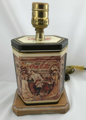 Coca-Cola Vintage Tin Lamp w/ Cord Wooden Base Free Shipping