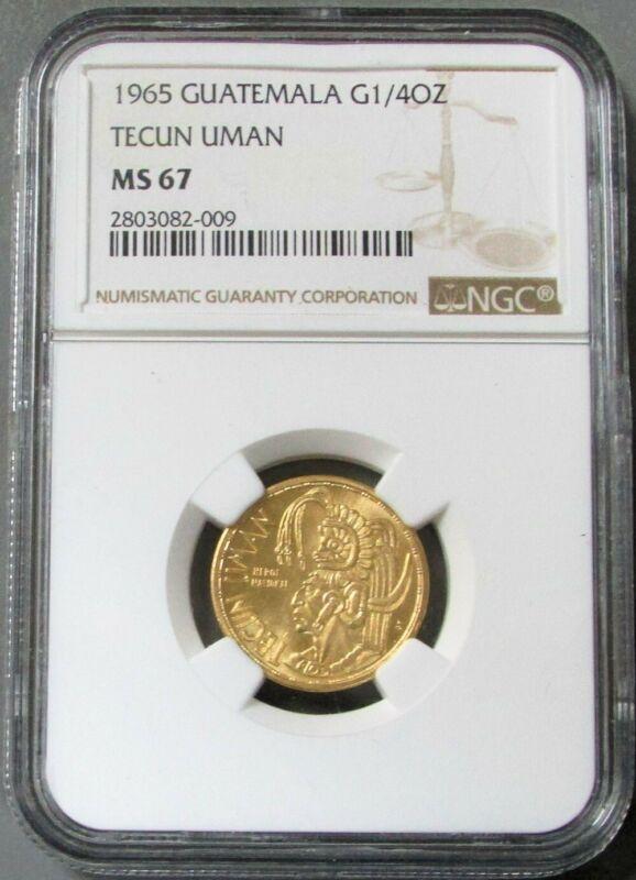 1965 GOLD GUATEMALA TECUN UMAN 1/4 OZ COMMEMORATIVE NGC MINT STATE 67