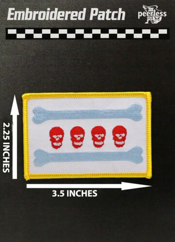 """Chicago Flag Skull Patch Full Color Approx 3.5"""" x 2.25"""""""