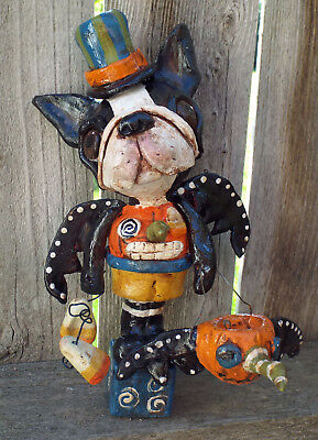 Folk Art Vintage Boston Terrier Halloween Bat Dog Doll New Vintage Whimsical  ()