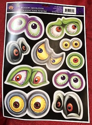 Different Creatures Scary Spooky Eyes Window Cling Halloween Decoration - Different Halloween Decorations