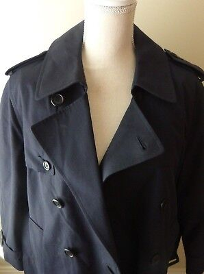 Womens Anchor Uniform Navy Blue Double Breasted Trench Coat 28R Lined Cosplay (Lightweight Lined Uniform)