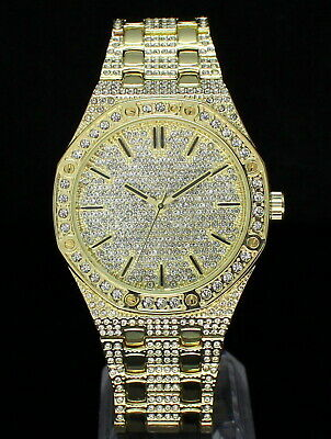 Mens 14k Gold Plated Iced Cz Hip Hop Rapper Techno Pave Luxury Watch