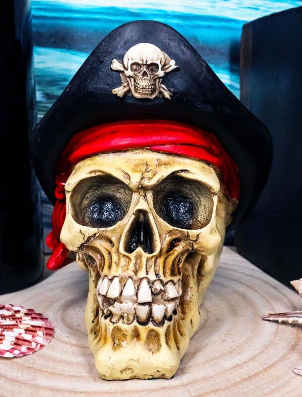 Pirate Captain Hook Marauder Skull With Golden Earring Statue Skeleton Decor