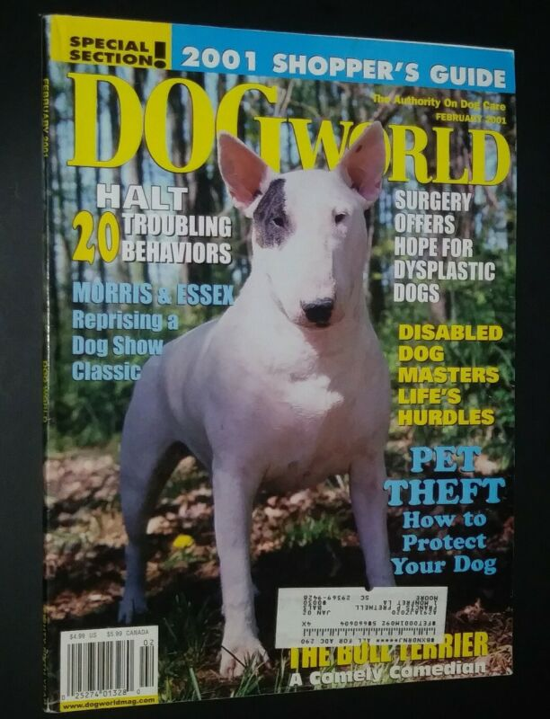 Dogs World Illustrated Magazine Bull Terrier Cover + Photos & Articles Feb. 2001